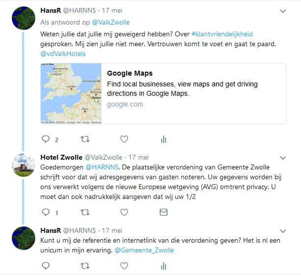 Tweet van der Valk - antwoord en reactie eerste deel